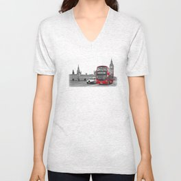 Black and White London with Red Bus Unisex V-Neck