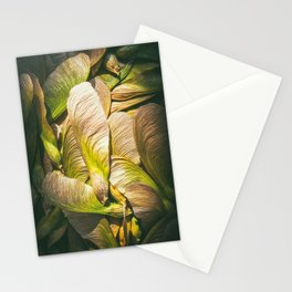 Samara maple tree dried fruit close-up in dark forest seed in spring season Stationery Cards