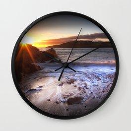Sunset at Rotherslade Bay Wall Clock