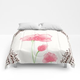 Vintage Pink Flower 3 with Brown Border Comforters