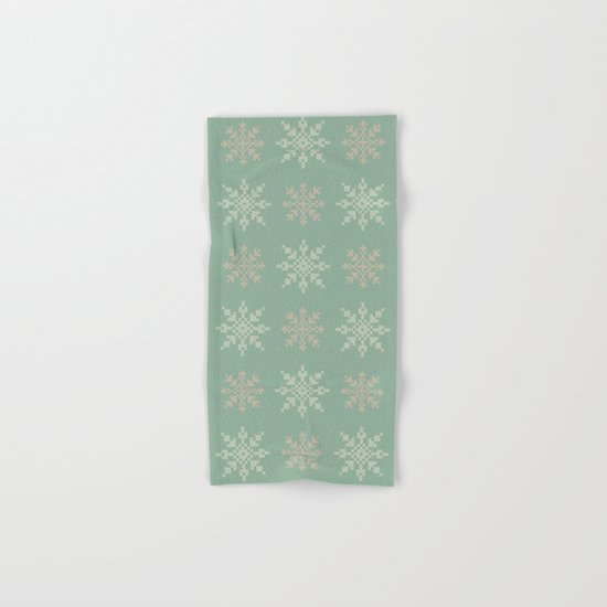 Snowflakes Cross Stitch Pattern (Mint) Hand & Bath Towel