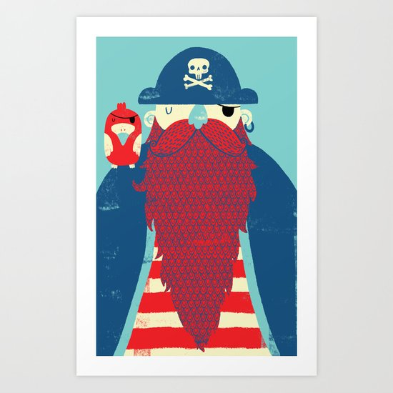 Old Captain Redbeard Art Print