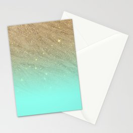 Elegant gold faux glitter chic teal gradient  trendy pattern Stationery Cards