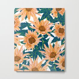 Blush Sunflowers, Vintage Floral Summer Garden Valley Painting, Bohemian Botanical Illustration Metal Print