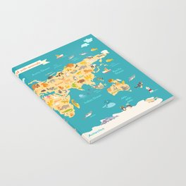 Animal map for kid. World vector poster Notebook