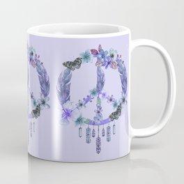 Purple Watercolor Peace Symbol Floral Dreamcatcher Coffee Mug