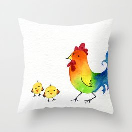 Little Rainbow Roosters Throw Pillow