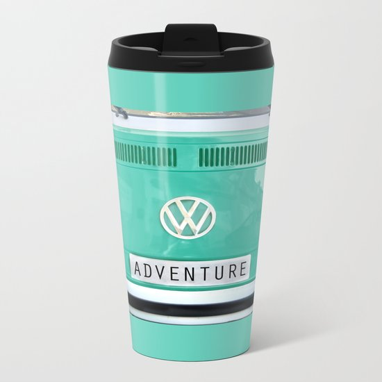 Adventure wolkswagen. Summer dreams. Green Metal Travel Mug