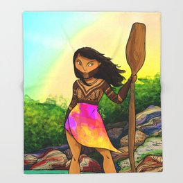 Embera girl Throw Blanket