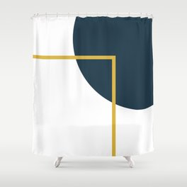 Fusion Minimalist Geometric Abstract in Mustard Yellow, Navy Blue, and White Shower Curtain