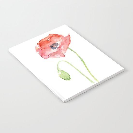 Red Poppy Flower Notebook