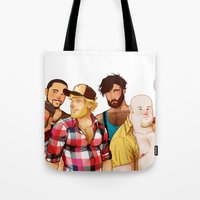 bears Tote Bags featuring BearS by Dronio
