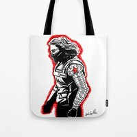 the winter soldier Tote Bags featuring Winter Soldier by Lydia Joy Palmer