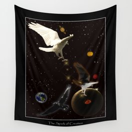 """Spark of Creation"" Raven Artwork Wall Tapestry"
