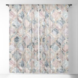 Marble Moroccan Tile Pattern Sheer Curtain