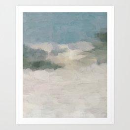 Modern Abstract Painting, Teal Blue, Sage Green, Beige Yellow Sandy Digital Prints Wall Art, Ocean Art Print