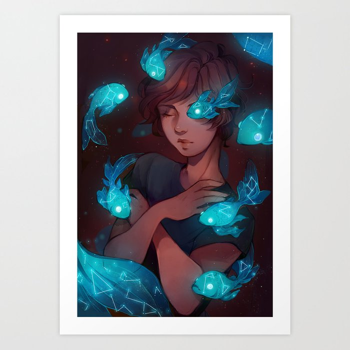 Constellation fish Art Print