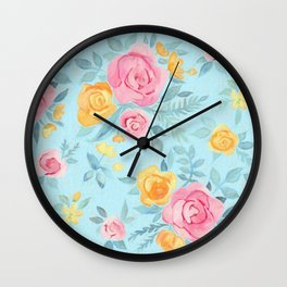 Chalk Pastel Pink & Orange Roses on Sky Blue Wall Clock