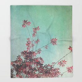 Red Leaves Throw Blanket