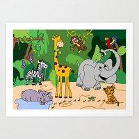 jungle Art Prints featuring JUNGLE by Rebecca Bear