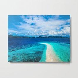 Beach curve in the blue waters Metal Print