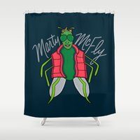 marty mcfly Shower Curtains featuring Marty McFly by Chelsea Herrick
