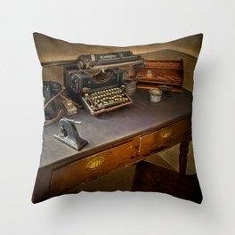 Vintage Writers Corner Throw Pillow