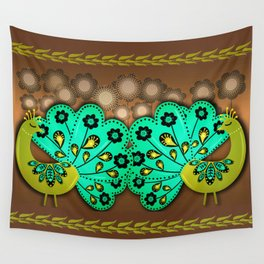 A Pair Of Copper Peacocks Wall Tapestry