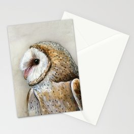 Barn Owl Watercolor, Birds Of Prey Wild Animals Owls Stationery Cards