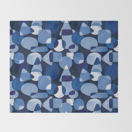 Blue Watercolour Geometric on Dark Blue Background Throw Blanket