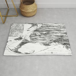 Vintage Cape Cod and NYC Steamboat Route Map BW Rug