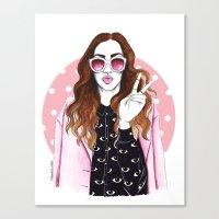 kenzo Canvas Prints featuring Kenzo Eye Girl by Natalia Madej