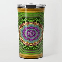 Lotus Pond In Gold Pattern Travel Mug