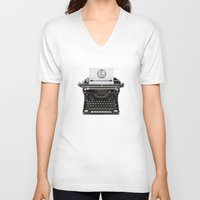 writing V-neck T-shirts featuring writing while you type... by Flying Dutchman