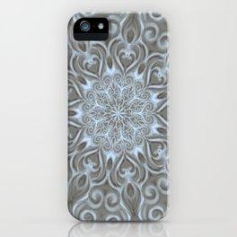 Light Blue Center Swirl Mandala iPhone Case