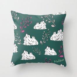 Maltese Dog Illustration Throw Pillow
