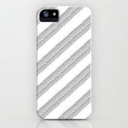 Black white watercolor hand painted geometrical chevron zigzag iPhone Case