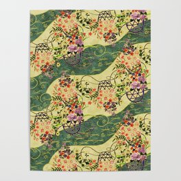 Vintage green and gold oriental floral pattern Poster