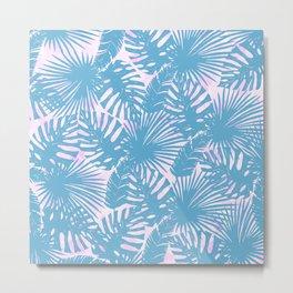 Modern teal pink watercolor tropical floral leaves Metal Print