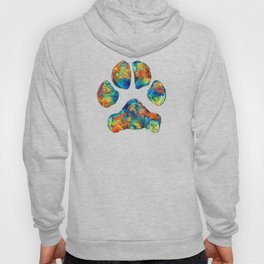 Colorful Dog Paw Print by Sharon Cummings Hoody
