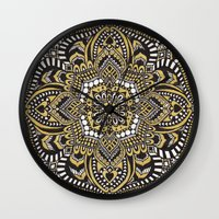 black and gold Wall Clocks featuring Black & Gold by Paula Savage