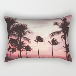 Tropical Palm Tree Pink Sunset Rectangular Pillow