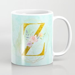 Gold Foil Alphabet Letter Z Initials Monogram Frame with a Gold Geometric Wreath Coffee Mug