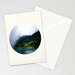 Mid Century Modern Round Circle Photo Green Cliffs Meeting Turquoise Waters Stationery Cards