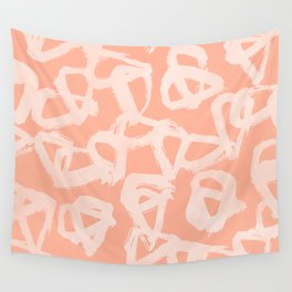 Sweet Life Triangle Dots Peach Coral Pink Wall Tapestry