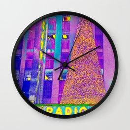 Radio City Music Hall with Holiday Tree, New York City, New York Wall Clock