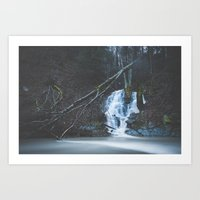 Emerging waterfall after the flood Art Print