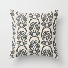 Crackled Scrolled Ikat Pattern - Cream Ink Black Throw Pillow
