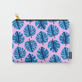 Blue monstera leaves pattern on pink background Carry-All Pouch