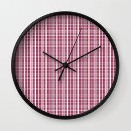 Burgundy Red Background of White Lines Wall Clock